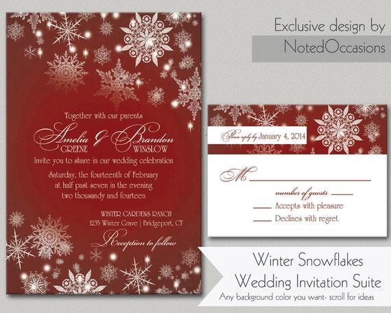 Winter Wedding Invitation Wording: Snowflake Rustic Winter Wedding Invitations By NotedOccasions