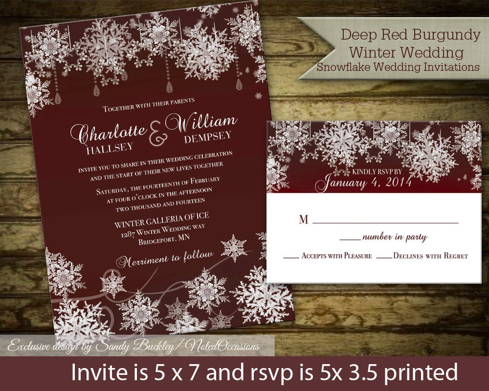 Winter Wedding Invitation Wording: Winter Wedding Invitation Set With RSVP Cards By
