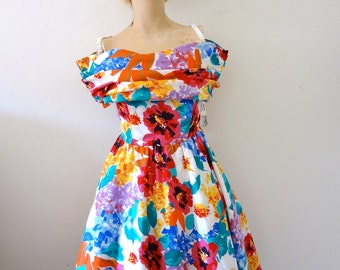 1980s Zum Zum Party Dress - NOS vintage floral print cotton mini dress with flouncy full skirt - retro cocktail or prom dress