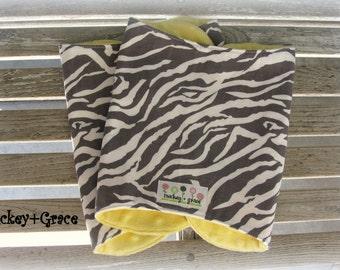 Unisex Baby Shower Gift, Zebra Print / Yellow Minky Burpies