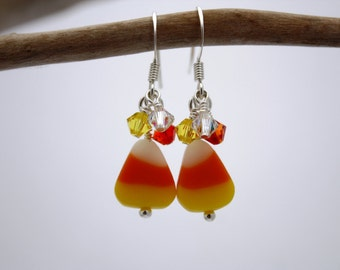 Candy Corn Earrings Halloween Jewelry Candy Corn Jewelry Halloween Earrings Fall Jewelry Autumn Jewelry Holiday Jewelry Autumn Earrings 031
