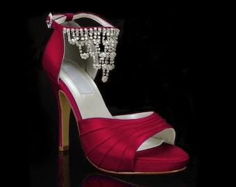 Wedding Shoes- Platform Dress Shoes-Bridal Heels- 250 Custom Colors-Pink2Blue Bridal Shoes- PBLR-0779
