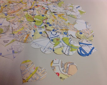 Heart Confetti From Vintage Maps over 600 Punches Rippy Bits by TangoBrat - Ready to Ship