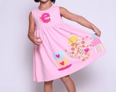 Tea Party Tea Cup Party Dress, Tea Cup Applique, Personalized Custom Birthday Dress, Choose Color and Sleeve Length
