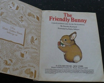 Vintage Children's Books, The Friendly Bunny A little Golden Book 209-6, Children's Books, Children 's Classic Stories, Kids Books,
