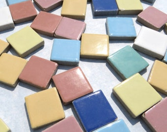 SALE Square Mosaic Tiles in Assorted Colors 7/8 Inch Ceramic  - 1 Pound - AS IS Imperfect