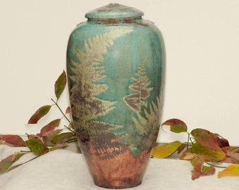 Wild Ferns Raku Urn, 12.5 in. Handmade USA, Turquoise and Copper Patina with Fern detail
