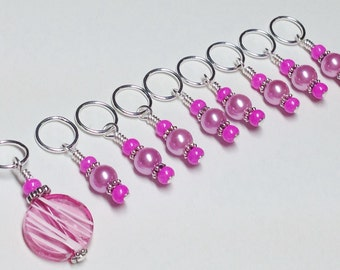 Pink Knitting Markers- Snag Free Beaded Stitch Marker Set- Gifts for Knitters- Knitting Tools- Pattern Markers