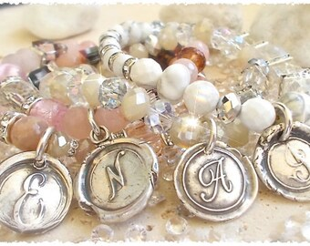 Wedding Day, BRIDESMAIDS Package Wax Seal Jewelry INITIAL Bracelets + Stretch Gemstones, Swarovski, CHOOSE Wedding Colors