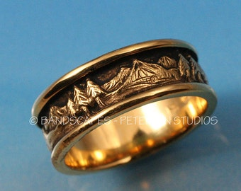 Wide LANDSCAPE BAND in solid 14k White, Yellow, or Rose gold
