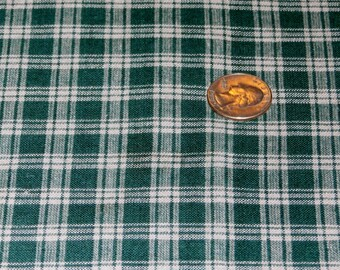 """Pretty Green and Ecru Plaid Cotton Fabric, 46"""" Wide x 36"""", 8 yards available"""