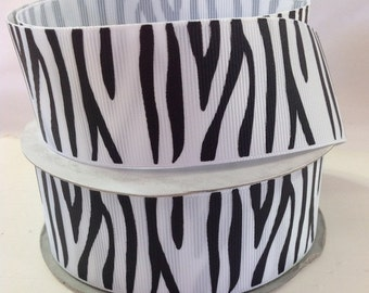 5 Yds WHOLESALE 1.5 Inch White and Black ZEBRA Stripe grosgrain ribbon LOW Shipping Cost