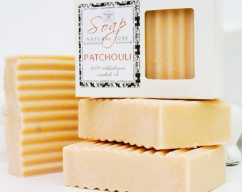 PATCHOULI SOAP - large 5.5 oz, Certified Pure Essential Oil, shea butter, mango butter, cocoa butter, natural, bath