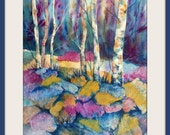 Watercolor Collage of Birch Aspen Trees and Rocks by Colorado Artist Martha Kisling