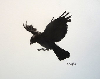 Crow original charcoal sketch, original art, charcoal drawing, pencil drawing, jackdaw drawing, bird art, black and white, crow picture