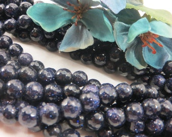 20 Blue Goldstone sparkly 8mm faceted round beads