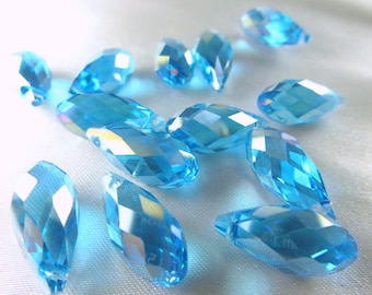 6 Crystal Briolette Teardrops in Aqua Blue Turquoise AB 8mm x 16mm Long Jewelry Beads - Top Drilled