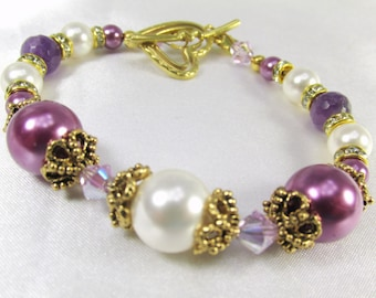 Radiant Orchid Bracelet in Swarovski Pearls, Crystals, and Faceted Amethyst Gemstones Vintage inspired Bridal or Bridemaid Bracelet