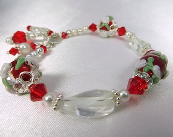 Red and White Gracebeads Glass Lampwork beaded bracelet with Swarovski, Pearls and Sterling Silver - matching set available