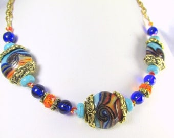 Blue, Orange and Ocean Turquoise Blue Lampwork Glass Necklace
