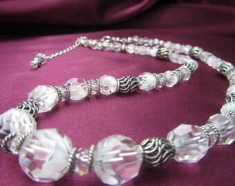 Bridal Necklace in Rare Vintage Swarovski White Givres and Bali Sterling Silver