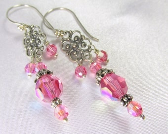 Pink Rose Swarovski Crystal Filigree Silver Earrings on all Sterling Silver