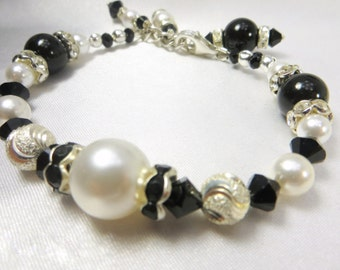 Black and White Bracelet with Swarovski Pearls, Diamond Cut Sterling Silver Beads and Crystal Rondelles