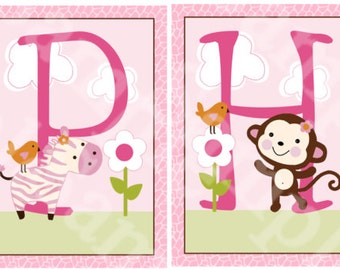"Unframed ""Jungle Jill/Girl Animals"" Letter Art  5x7inch  Nursery Art Prints"