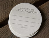 200 Advice for the BRIDE & GROOM Coasters, modern design (Letterpress printed, 3.5 inches circle), perfect for weddings