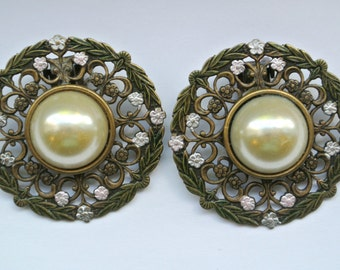 Vintage Enamel And Faux Pearl Earrings