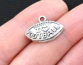 BULK 60 Football Charms Antique  Silver Tone I Heart Football - SC3223