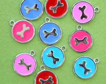 5 Dog Bone Charms Bright Assorted Colors - E115