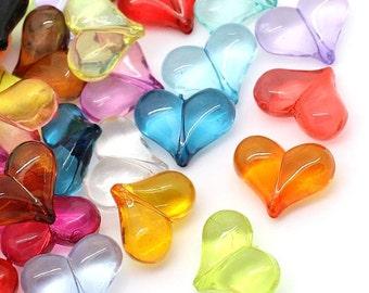 25 Heart Beads Colorful Kitschy Fun K144