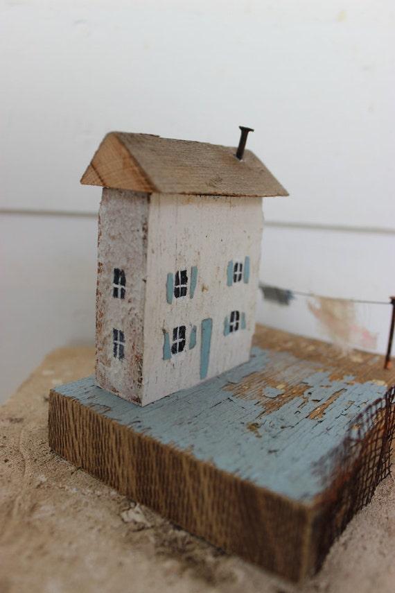 House Mixed Media Wooden Art
