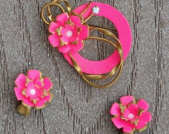 Vintage Jewerly Set - Brooch and Clip on Earrings - Neon Pink - Austria