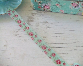 Washi Tape SAMPLE - Mint green - ONE METRE - aqua washi tape - roses - washi tape - floral washi tape - Embellishments