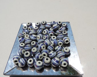 Genuine Hand Made Krobo Beads Made In Ghana Africa Aprox 5 cm Hole Is Aprox .4cm  7 beads