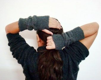 Fingerless Gloves Knitting Pattern, Cable Knit Arm Warmers Pattern, 233