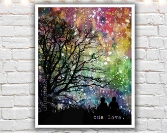 lgbt art - one love - rainbow wall art prints - gay pride - gay art - love is love