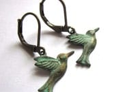 Flying Bird Earrings Verdigris Patina Fashion Jewelry