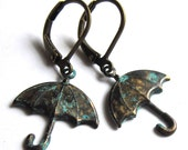 Blue Patina Umbrella Earrings Verdigris Fashion Jewelry