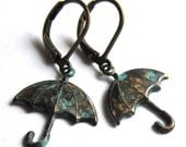 Patina Umbrella Earrings Verdigris Fashion Jewelry