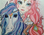 Gypsy Girl and Horse ACEO/ATC Artist Trading Cards By The Artist Leslie Mehl