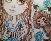 Jenna and the Blue Roses Art Print, monkey victorian big eye fantasy