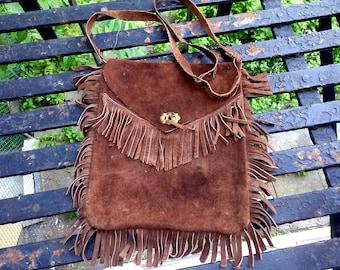 Vintage 70's sued fringe bag.