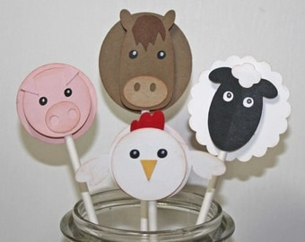 Farm birthday cupcake toppers, farm animals, horse, pig, sheep and chicken, set of 6
