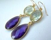 Green and Purple Amethyst Gold Fill Bezel Drop Earrings. Dangling Fashion Chandelier. Colorful Beadwork.