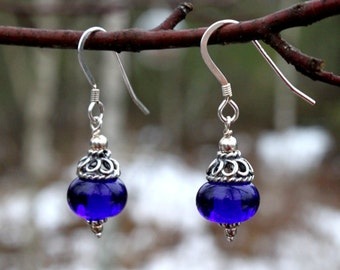 Cobalt Blue Glass Dangle Earrings with Sterling Silver, Lampwork Jewelry, Blue Glass, Glass Jewelry, Lampwork Earrings, Glass,