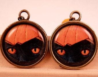 Halloween Jewelry Halloween Earrings Cat Earrings Pumpkin Earrings Pumpkin Jewelry Brass Jewelry Holiday Jewelry