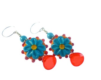 Turquoise Red Lampwork Earrings, Dangle Glass Bead Earrings, Handmade Lampwork Jewelry, Floral Summer Earrings, Glass Bead Jewelry